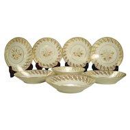 Set of 8 English Porcelain New Hall Saucer Bowls C1820