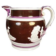 Shorthose Type Pink Lustre Pitcher, 1820's