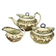Staffordshire Pearlware Salopian Printed Tea Set, C 1810
