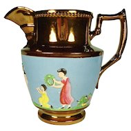Copper Lustre Pitcher with Figural Enamel Decoration, 1830's