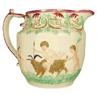 Pearlware Relief Molded Pitcher, 1820's