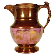 Large Copper Lustre Pitcher with Pink Lustre House Decoration, 1830's