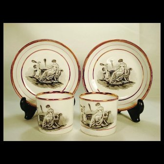 Pair of Adam Buck Porcelain Coffee Cans and Saucers, C 1820