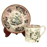 Davenport Coffee Can and Saucer, Nightingale    C 1840
