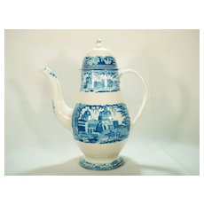 Staffordshire Monopteros Blue Printed Coffee Pot, 1820's