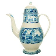 Staffordshire Monopteros Blue Printed Coffee Pot, 1820's