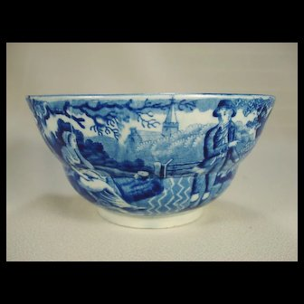 Staffordshire Pearlware Blue Transfer Printed Waste Bowl, C 1820