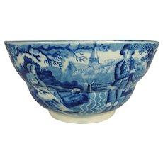 Staffordshire Pearlware Blue Transfer Printed Waste Bowl, C 1820