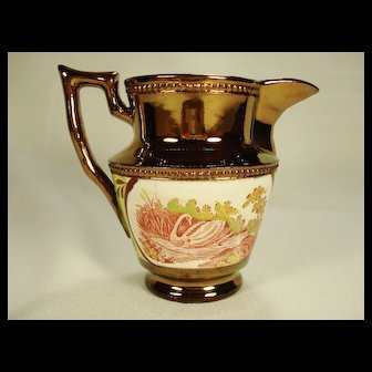 Enoch Wood Style Copper Lustre Pitcher, Swan, C 1830