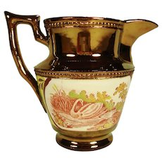 Enoch Wood Style Copper Lustre Pitcher, Swan, C 1830