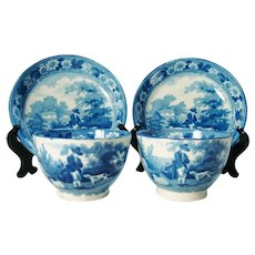 Pair of Staffordshire Pearlware Blue Printed Tea Bowls and Saucers, C 1815-1825