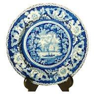 Pearlware Blue Transferprinted Plate Temple Scene  1820's