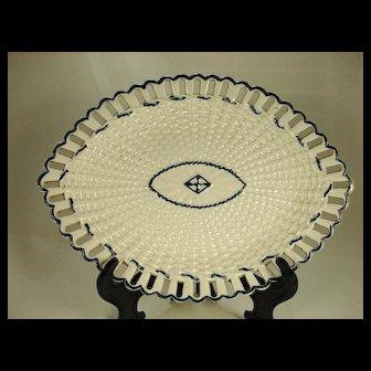 Pearlware Reticulated Plate, J Heath,   C 1800