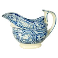 Pearlware Blue Transfer Printed Creamer with Floral Groups, 1820's