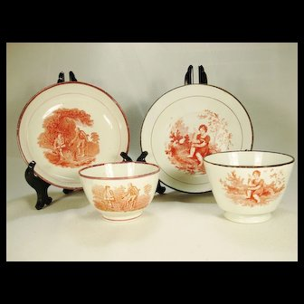 Pair of Pearlware Orange Transfer Printed Teabowls and Saucers, C1820