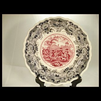Andalusia Red and Black Transfer Printed Plate.  1830's