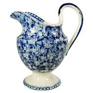 Transfer Printed Pearlware Pitcher with Floral Pattern Decoration  C 1815-1825