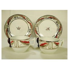 Pair of Pearlware Silver Lustre and Enameled Cups and Saucers 1815-1825