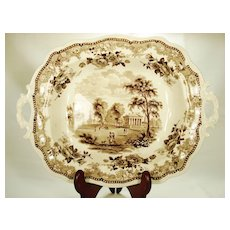 Staffordshire American Scene Serving Bowl or Vegetable Dish , Jacksons, 1831-1835