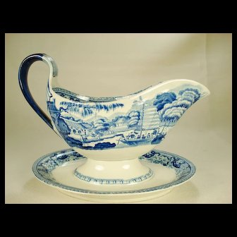 Davenport Sauce Boat and Tray, C 1810-1820