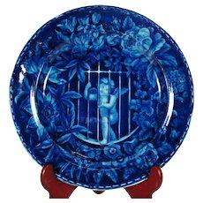 Cupid Imprisoned, E Wood Blue Transfer Printed Plate C1820's