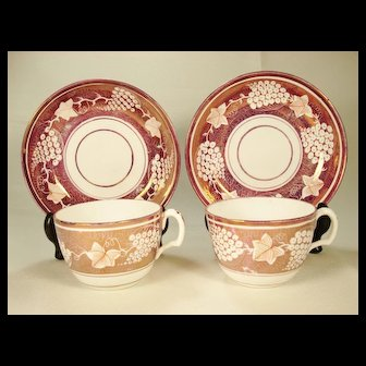 Pair of Pink Resist Lustre Cups and Saucers, Possibly FactoryZ,  1815-1820's