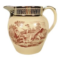 Silver Lustre and Bat Printed Pitcher, C 1820