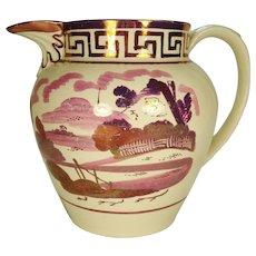 Large Pink Lustre Key Pattern Pitcher, 1820's