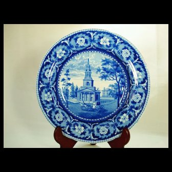Octagon Church, Boston, Transferprinted Soup Bowl, 1820's