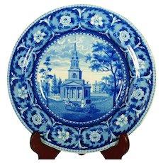 Octagon Church, Boston, Transferprinted Soup Bowl, 1820's