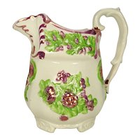Pink Lustre and Enameled Relief Molded Pitcher C 1840