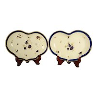 Pair of Caughley Porcelain Heart Shaped Dessert Dishes, 1780's