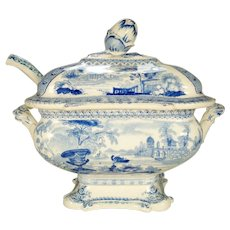Antique Blue Printed Sauce Tureen, Cover, and Ladle, 1830's