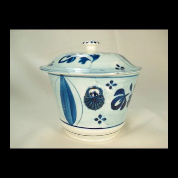 Pearlware Sugar Bowl and Cover Blue Painted, C 1810