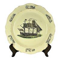 Creamware Nautical Plate, C 1800