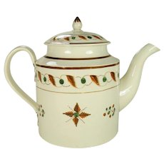 Large Creamware Teapot with Pratt-type Color Decoration, 1820's