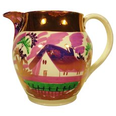 Creamware Lustre and Enamel Pitcher, C 1820
