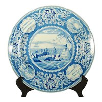 Pearlware Printed Plate, Landing of the Fathers, 1820's