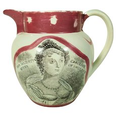 Pearlware Pitcher with Queen Caroline Decoration   1820