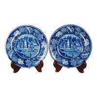Pearlware Blue Printed Pair of Plates, City of Benares, 1820's
