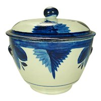 Pearlware Blue and White Sugar Bowl in Free Style Decoration  C 1820