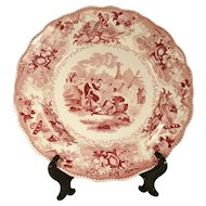 "Red Staffordshire Printed Plate from ""The Sea"" Series by Adams 1830's"