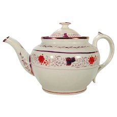 Staffordshire Pearlware Pink Lustre Teapot   C 1820's