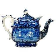 Staffordshire Dark Blue Transfer Printed Teapot,  1820's
