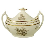 Spode English Porcelain Bat-Printed Sugar Bowl, C 1810