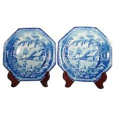 Pair of Brameld Pearlware Transferprinted Plates  C 1820