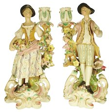 Pair of Large Candle Holder Figurines, Late 19th Century