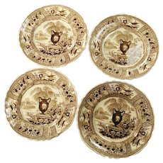 Set of Four Matching Staffordshire Transfer Printed Toddy Plates, 1830-1838