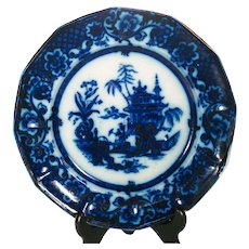 Staffordshire Flow Blue Printed Plate, C 1850