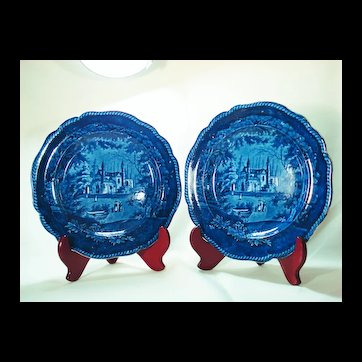 Pair of Stafforshire Tams Deep Blue Printed Plates, 1820's